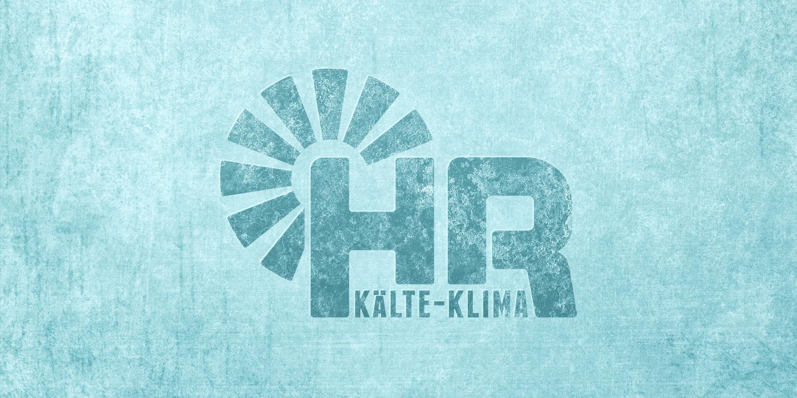 HR Kälteklima Logo auf gefrorenem Hintergrund